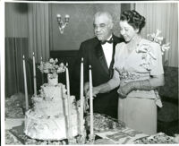 Dr. R. Stillman Smith and Cynthiabelle Gordon Smith on their wedding day at the Somerville home, Los Angeles, 1947