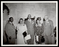 "Group attending the dedication of the Golden State Mutual Life Insurance Co. murals titled ""The Negro in California History,"" Los Angeles, 1949"