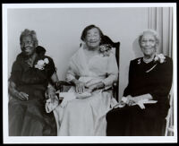 Minnie Bates, Margaret D. Scott and Mrs. D. R. Jones, awarded as founders of Sojourner Truth, Los Angeles, 1956
