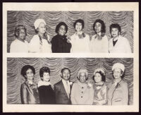 Two group portraits taken at the Founders Luncheon of the Delta Sigma Theta Sorority to celebrate the 57th anniversary of its founding, Los Angeles, 1970