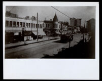 Streetcar on a commercial street, Los Angeles, undated