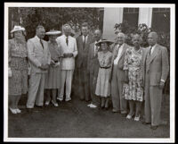 Garden party at the Somerville residence for members of the Church of Christian Fellowship, Los Angeles, 1947