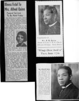 Newspaper clipping of Reverend  Alfred Kerruthers Quinn and Effie Caroline Quinn