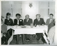 W. E. B. Du Bois with Lillian Evanti, Dr. Vada Somerville and others at Pilgrim House, Los Angeles, 1950s (?)