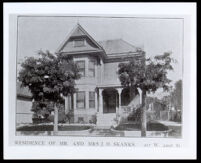 Exterior view of the house of the Skanks family on 22nd St., Los Angeles