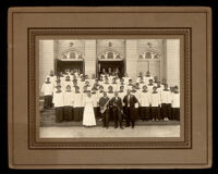 Reverend J. Logan Craw and the church choir in front of the First A.M.E. Church, Los Angeles, between 1915-1919