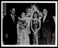 Charles H. Matthews, Sr. (left), Ralph Bunche and his wife, Ruth Bunche, and daughter, Joan Bunche, at the Wilfandel Club, 1959
