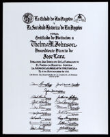Award presented to Thelma M. Johnson, a direct descendant of Jose Lara, who was a poblador who participated in the 1781 founding of the pueblo of Los Angeles, 1981