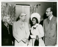 Dr. Vada Somerville, Eleanor Roosevelt, Anne O'Ferrall and James Roosevelt at the Somerville home, Los Angeles, 1950