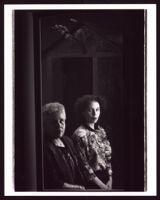 "Betye Saar and Alison Saar at their exhibition ""Secrets, Dialogues, Revelations: The Art of Betye and Alison Saar"" at the UCLA Wright Gallery, Los Angeles,  circa 1990"