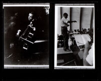 Two photos of William Grant Still playing cello, 1920s, and conducting at the Hollywood Bowl, circa 1967