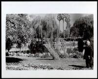 """Elias Jackson """"Lucky"""" Baldwin at his Rancho Santa Anita property, Arcadia, circa 1889"""