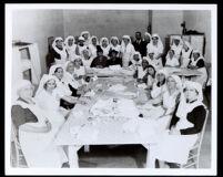 Gathering of the African American Red Cross (?) volunteers, World War II, Los Angeles, 1938-1945