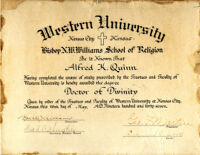 Alfred Kerruthers Quinn Doctor of Divinity from Western University