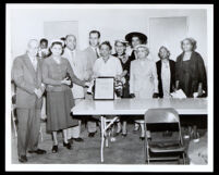 Betty Hill is honored for her contributions to Los Angeles County, Los Angeles, 1955