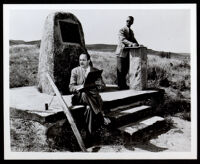 Artists Charles Alston and Hale Woodruff at Beckwourth Pass during the Golden State Mutual mural research tour, Chilcoot (California), 1948