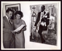 William Pajaud with Melonee Blocker at an art exhibition at Family Savings and Loan Association, Los Angeles, 1964