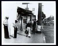 Central Avenue street scene with African Americans, Los Angeles, 1939-1945