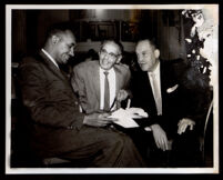 Tom Bradley (probably), Loren Miller and one other man at the Democratic Convention, Los Angeles, 1960