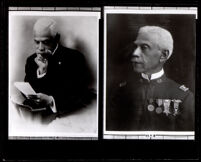 Two images of Allen Allensworth, in uniform and reading, circa 1913