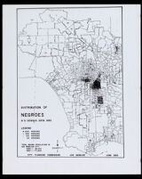 """Map titled """"Distribution of Negroes, U. S. Census Data 1950"""""""