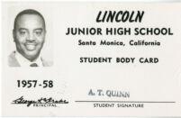 Alfred Thomas Quinn's Lincoln Junior High identification card