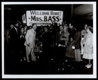 Charlotta Bass welcomed back by Reuben Borough when she was a candidate for Congress in the 14th District, Los Angeles, 1950