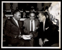 Tom Bradley (probably), Loren Miller and another man at the Democratic Convention, Los Angeles, 1960