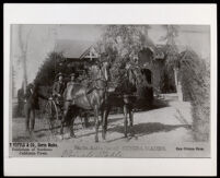 African American coach driver outside the coach barn at the Rancho Santa Anita, Arcadia, circa 1889