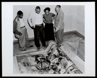 """Unboxing of the """"The Negro in California History"""" mural, by Charles Alston, at the Golden State Mutual Life Insurance Co., Los Angeles, 1949"""