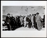 Titus Alexander guiding a tour at Boulder Dam for prominent Los Angeles Citizens, 1934-1940