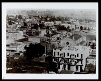 Panorama of buildings including the Cathedral of St. Vibiana, Los Angeles, circa 1900 (?)