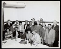 Dr. Vada Somerville, Dr. Harold Kingsley, and Clarence Muse at a dinner event, probably for Pilgrim House, 1950s