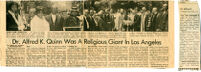 Newspaper clipping of Reverend  Alfred Kerruthers Quinn Obituary