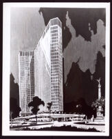Rendering for a high-rise hotel by Paul R. Williams, undated