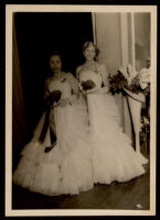 Two young women at a formal event, friends of the Matthews family, 1930-1960