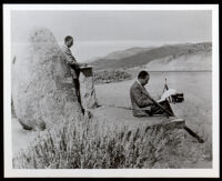 Artists Hale Woodruff and Charles Alston at Beckwourth Pass during the Golden State Mutual mural research tour, Chilcoot (California), 1948