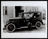 Laura Chrisman in front of the Chrisman Apartments, Los Angeles, 1920