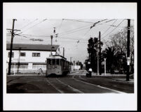 Streetcar No. 487 at the intersection of Ascot and Jefferson, Los Angeles, 1947