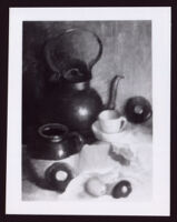 Still life with teapot, tea cup and fruit by Alice Taylor Gafford, between 1935-1975