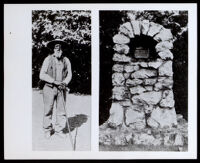 Nate Harrison standing with a walking stick; plaque on stone pedestal, Palomar, Mount (Calif.), circa 1910