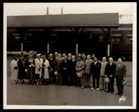 Crowd to greet Walter White, NAACP leader, at a train station, Los Angeles, circa 1937 (?)