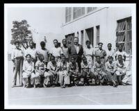 Boys' school portrait with their teacher at the 49th Street School, Los Angeles, 1940-1960