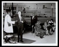 Dedication of the plaque commemorating the First A.M.E. Church at 8th St. and Towne Ave., Los Angeles, 1973