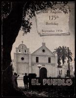 Poster commemorating the 175th anniversary of Los Angeles with a photograph of the Plaza Church, 1956