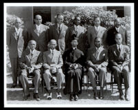Reverend H. Randolph Moore and ten parishioners in front of St. Philip's Episcopal Church, Los Angeles, circa 1950