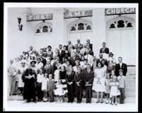 Group portrait of the Congregation of the First African Methodist Episcopal Church, Los Angeles, 1961