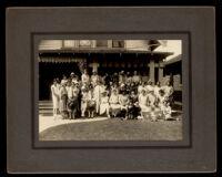 Rho Psi Phi Medical Sorority members in front of their sorority house, Los Angeles, circa 1924