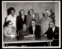 Press conference for the choir of 2nd Baptist Church with Verna Arvey, William Grant Still and others, Los Angeles, 1964