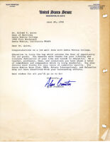 Letter from Alan Cranston, US Senate 1988